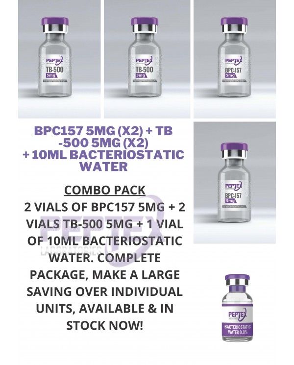 PEPTEX LABORATORIES 5 COMBO PEPTIDE PACK: TB-500 5MG X 2, BPC-157 5MG X 2, BACTERIOSTATIC WATER 10ML