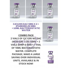 5 Item Peptide Combo Pack: Peptex Labs CJC1295DAC 5mg x 2, Ipamorelin 5mg x 2, 1 x 10ml Bacteriostatic Water