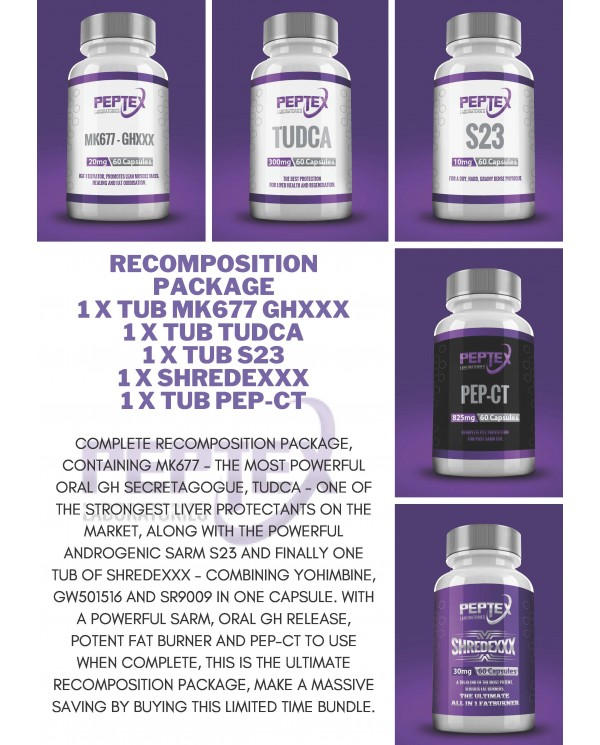 SARM RECOMPOSITION PACKAGE - S23, MK677, TUDCA, PEP-CT (ARIMISTANE) + SHREDEXXX - 5 BOTTLE COMBO PACK
